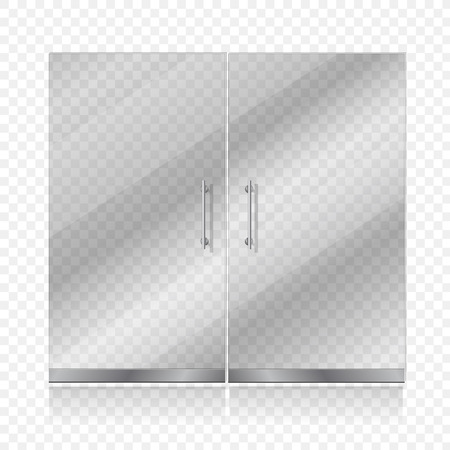 Transparent glass door isolated. Entrance passage mock up illustration