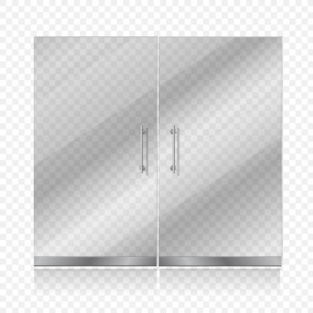 shopfront: Transparent glass door isolated. Entrance passage mock up illustration