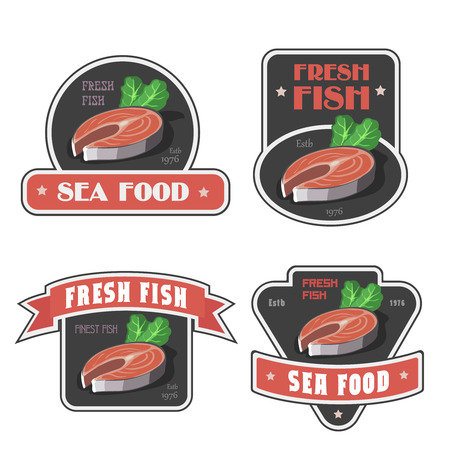 brown trout: Seafood shop signs and fresh fish store label or illustration. Salmon or trout Stock Photo