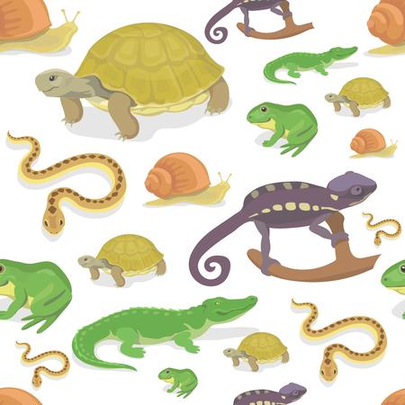 Reptilien und Amphibien nahtlose Muster auf weißem Hintergrund. Krokodil Schildkröte Schlange Chamäleon