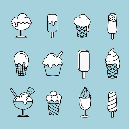 food illustration: Set line icons Ice cream. Dessert sweet food  illustration Stock Photo