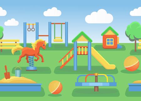 Playground illustration horizontal seamless pattern illustration Illustration