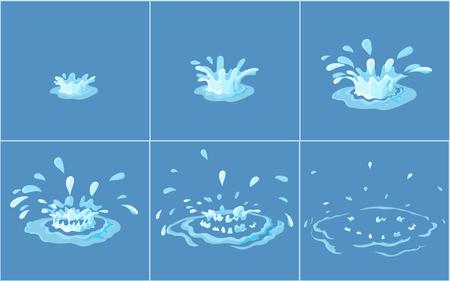 Water splashes frame set for game animation.