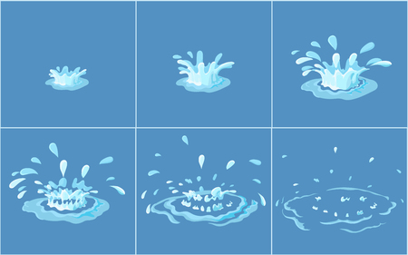 Water splashes frame set for game animation.