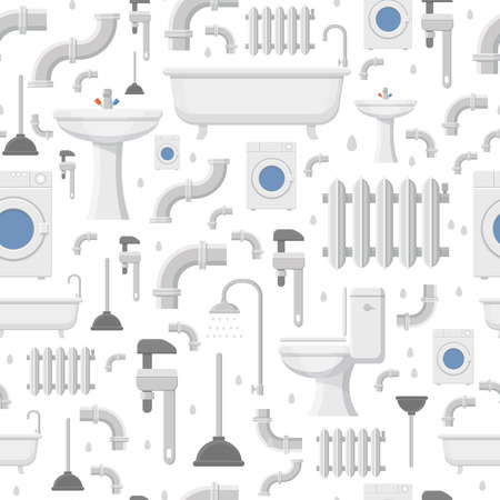 tube wrench: Plumbing service flat icons: water pipe, toilet, bathroom bathtub, radiator and heating repair tools, seamless pattern