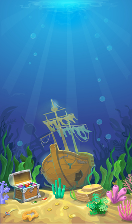 sunken: Underwater landscape. The ocean, undersea world. pirate chest with treasures and sunken ship. background for mobile game Illustration