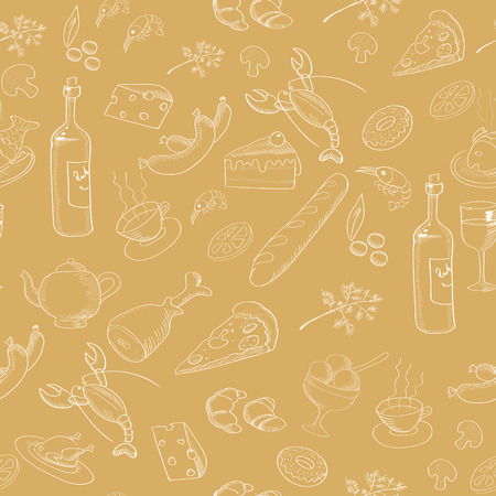 retro restaurant: Collection of hand-drawn food. Retro vintage style restaurant products design. Seamless pattern. Vector illustration.