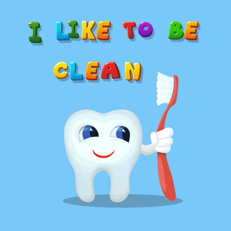 Cute cartoon tooth like cleaning with a brush Hand drawn cartoon art illustration I like to be clean Stock Photo
