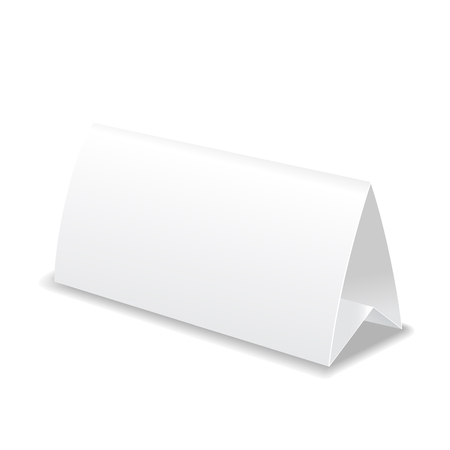 assign: Paper blank white table card, sign template illustration