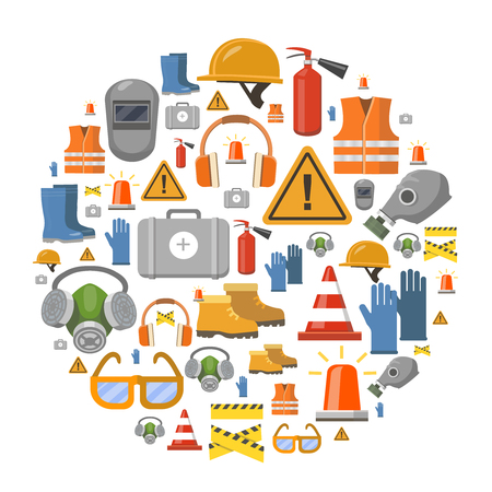 protective: Safety work flat vector icons round background vector illustration with workwear helmet, gloves, extinguisher Illustration