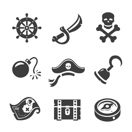 simbols: Pirate Icons Skull and chest, treasure map, compass and Jolly Roge. Corsair simbols set