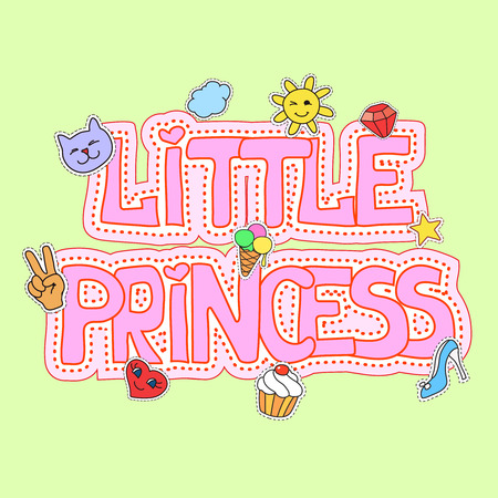 girlish: Little princess fashion girlish illustration fot t-shirt print, pretty design with patches vector