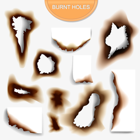 burnt: Paper with burnt holes realistic illustraton on white background vector
