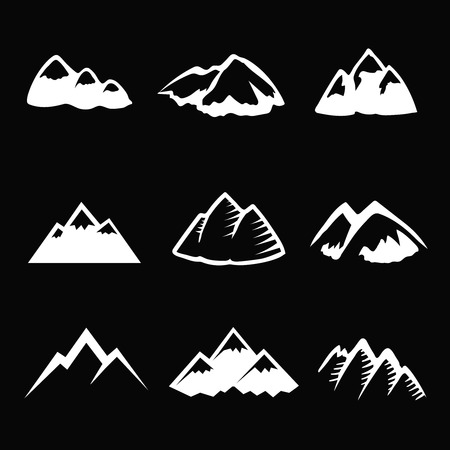 simbols: Mountain white icons set. Tourism, hiking and camping simbols. Graphic travel silhuettes Vector Illustration