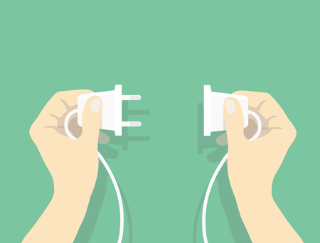 plug in: Two hands trying to connect electric plug together, Connection vector illustration in flat style vector