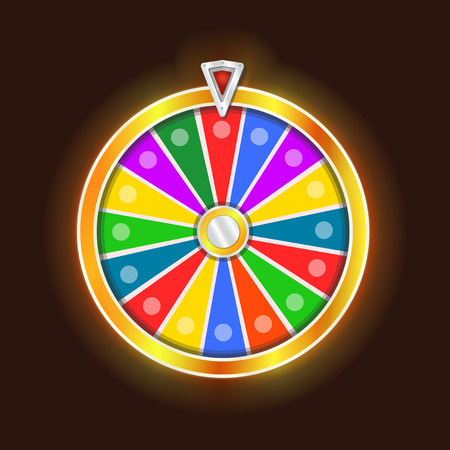 Colorful fortune wheel design. Isolated on black background vector illustration.