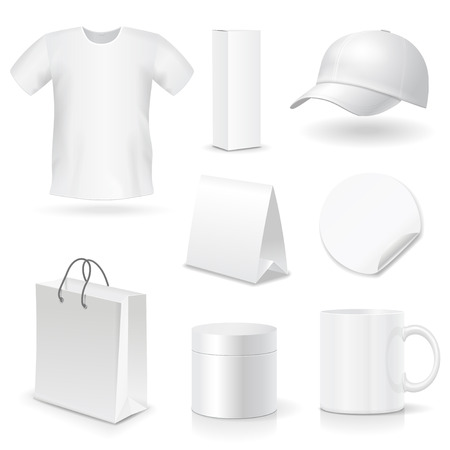 promotional: Blank business corporate identity templates, gifts, packaging and souvenirs set. Promotional Mock up. Vector. Illustration