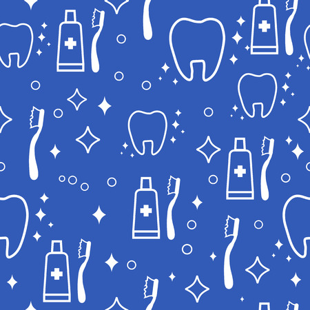 incisor: dental seamless pattern. white teeth and toothbrush and toothpaste on blue background Stock Photo
