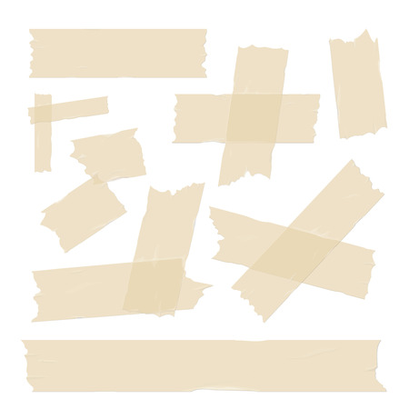 sticky: Scotch, adhesive tape pieces, different size sticky isolated on white vector set Illustration