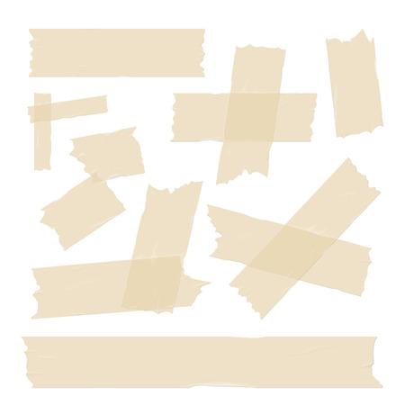 Scotch, Klebebandstücke, unterschiedliche Größe klebrig auf weißem Vektor-Set isoliert Vektorgrafik