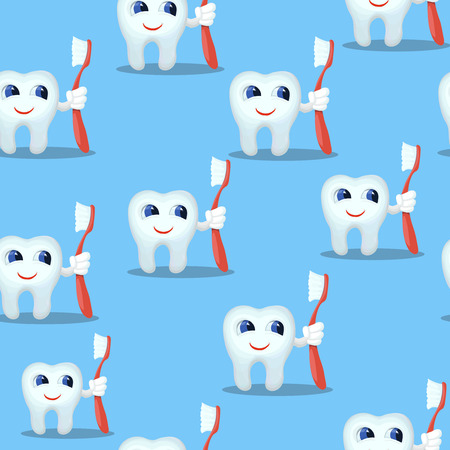 Blue seamless pattern with cartoon funny teeth characters, kids dental care background