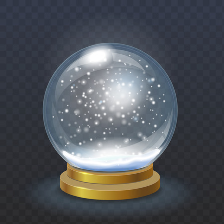 hristmas: Realistic ?hristmas snow globe isolated on transparent checkered background vector. Winter in glass ball illustration