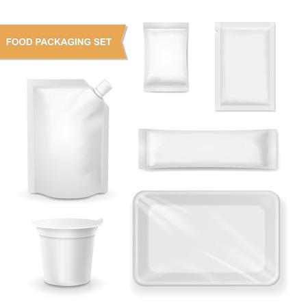 validez: envasado en blanco conjunto realista para la comida, merienda plantilla paquete de ilustración vectorial aislado