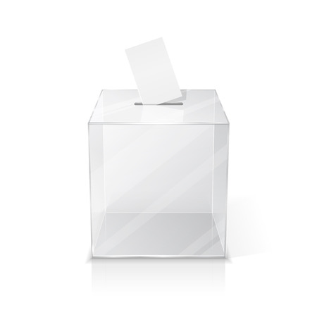 designate: Realistic empty transparent ballot box with blank voting paper. Isolated illustration on white background