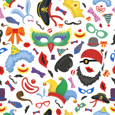 props: Party photo booth props seamless pattern background. Glasses, hats, lips, mustaches on white background. Stock Photo