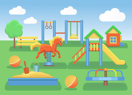 Kids playground cartoon concept background. Slide outdoor, sand and childhood, illustration Stock Photo