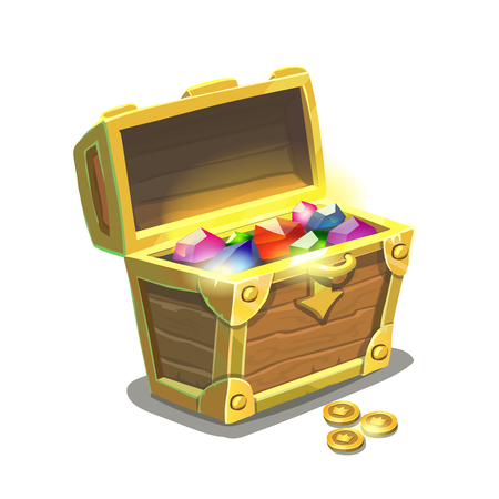Treasure chest full of jewels and golden coins isolated , cartoon vector illustration
