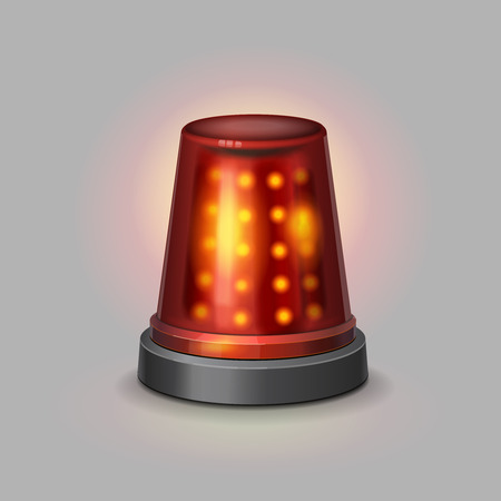 flasher: Flasher police siren red color realistic isolated vector illustration