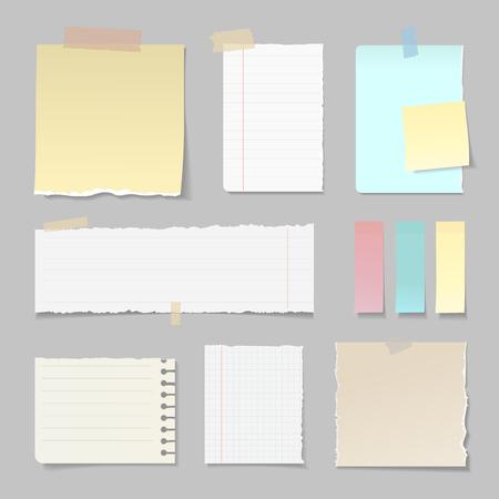 De gescheurde document banners voerden duidelijke verticale en horizontale reeks in bijlage met kleverige kleurrijke band geïsoleerde vectorillustratie