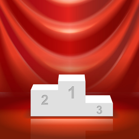 Podium for the winners and red curtain vector illistration Illustration