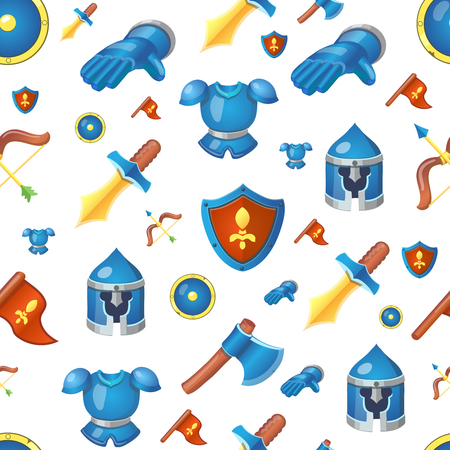 Medieval Knight weapons seamless cartoon background pattern with sword, helmet and shield vector