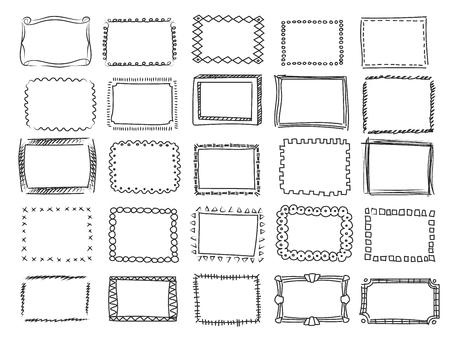 Doodle simple, croquis cadres vectoriels carrés Collection d'effets au crayon et bordures dessinées à la main Vecteurs