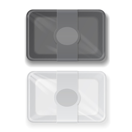 Vector white and black fast food box container packaging set isolated Illustration