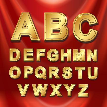 metal alphabet: Gold metal alphabet letters set vector illustration