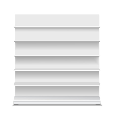 displays: White long blank empty showcase displays with retail shelves front view vector Isolated. Illustration