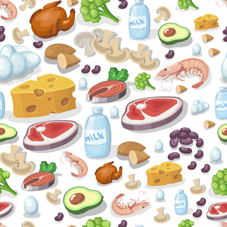 carne pollo: Vector seamless pattern dairy products, vegetables, meat products, nuts, chicken, cheese and milk
