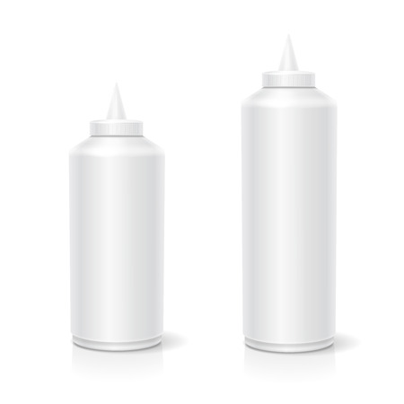 nutritive: Blank plastic white mayonnaise mustard ketchup bottle for branding isolated on background