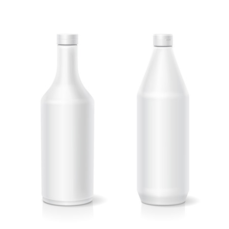catsup bottle: White ketchup mayonnaise mustard blank different plastic bottles template isolated vector illustration