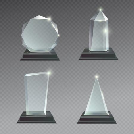 Empty glass trophy awards vector set. Glossy transparent realistic reward for winner and champion illustration Vektoros illusztráció