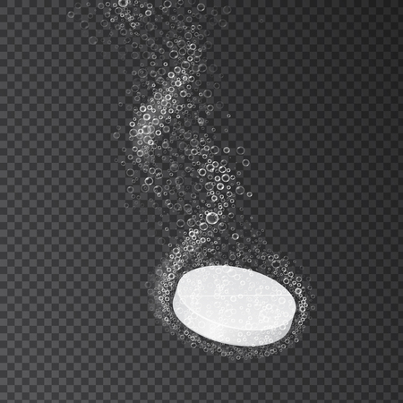 fizzy tablet: Effervescent soluble tablet pills. Vitamin C or aspirin or pill fizzy trace falling down in water on transparent background Illustration