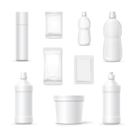 disinfect: Set of bottles and packages of detergents and cleaning household products for bathroom and kitchen. Vector blank Packaging containers template
