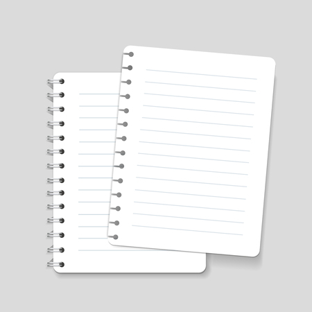 spiral notebook: Realistic spiral vector lined notebook isolated