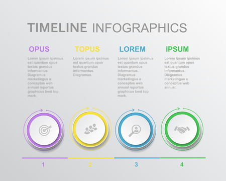 Vector elements for timeline infographic. Template for diagram, graph, presentation and chart. Business concept with 4 steps options, parts or processes,