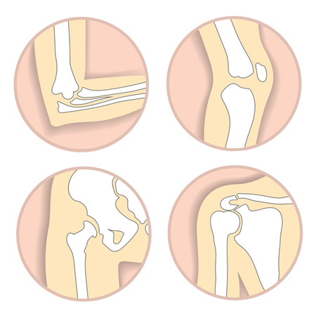 Set of human joints, elbow, knee, hip joint. skeletal bone structure icons Stock Photo