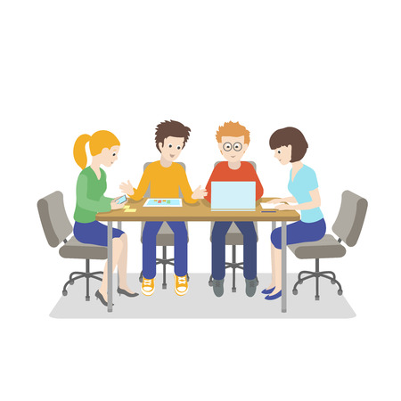strategy meeting: Team working. Young people talking together Startup IT company. Strategy planning business meeting. Vector illustration