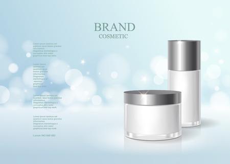 Cosmetische blauwe fles collo met vochtinbrengende crème of vloeibaar, huidverzorgingsproduct poster, fonkelende achtergrond vector design.